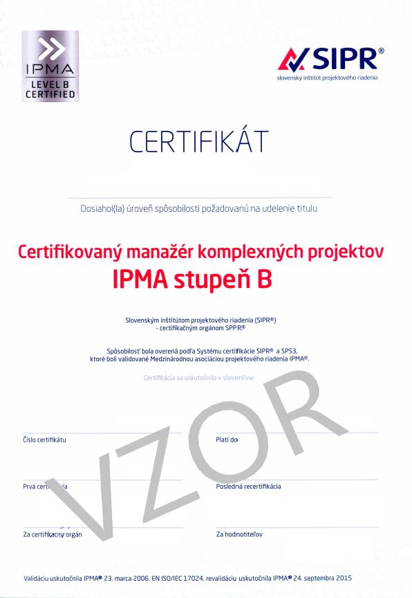 projektové riadenie kurzy IPMA certifikát