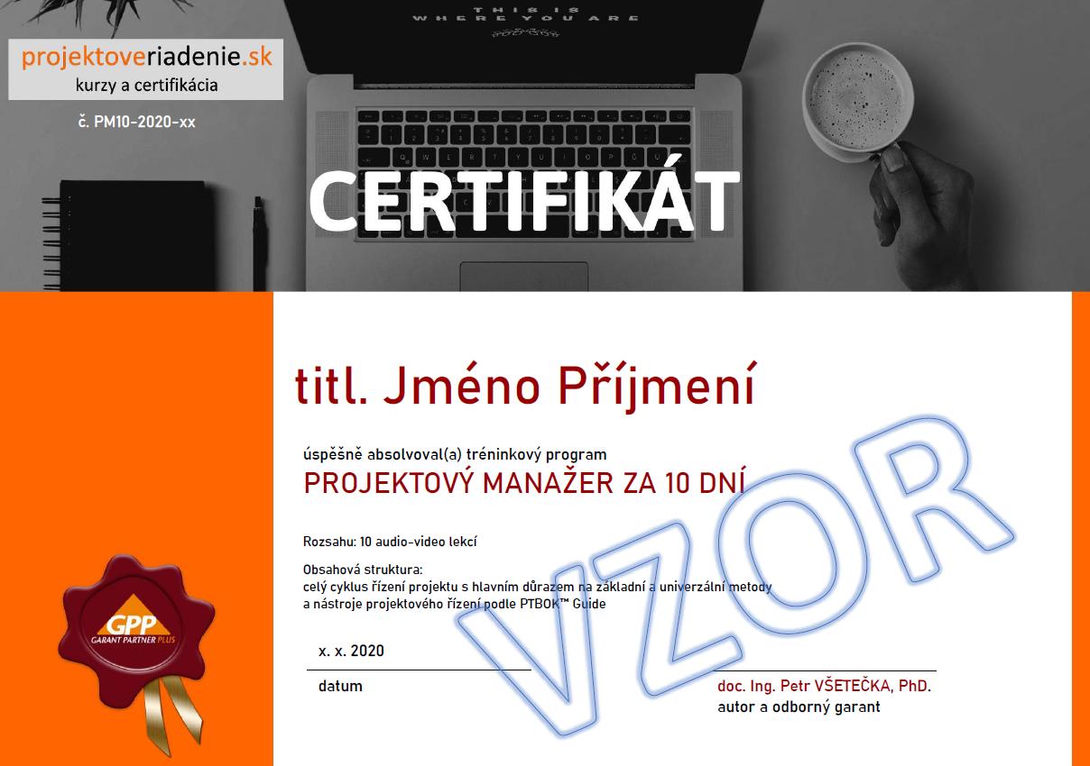 projektový manažer certifikát